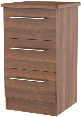 Sherwood Noche Walnut Bedside Cabinet - 3 Drawer Locker