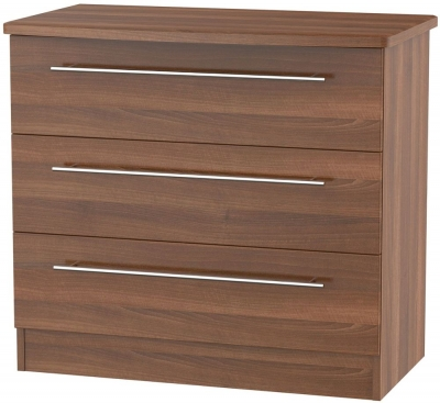 Sherwood Noche Walnut Chest of Drawer - 3 Drawer