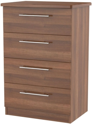 Sherwood Noche Walnut Chest of Drawer - 4 Drawer Midi