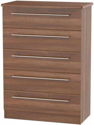 Sherwood Noche Walnut Chest of Drawer - 5 Drawer