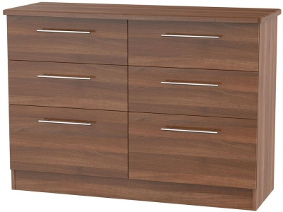 Sherwood Noche Walnut Chest of Drawer - 6 Drawer Midi