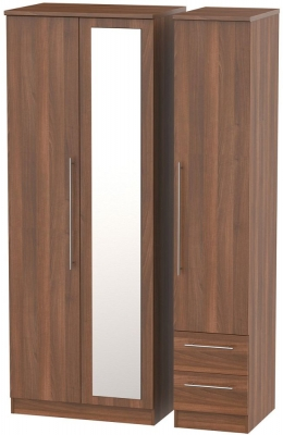Sherwood Noche Walnut 3 Door 2 Drawer Tall Combi Wardrobe