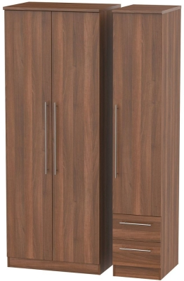 Sherwood Noche Walnut Triple Wardrobe - Tall Plain with 2 Drawer