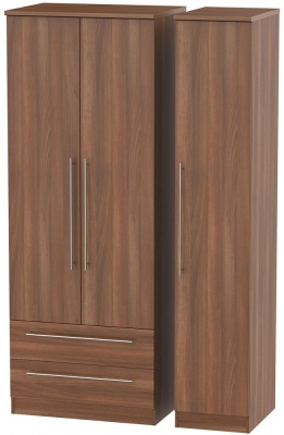 Sherwood Noche Walnut Triple Wardrobe - Tall with 2 Drawer