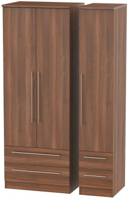 Sherwood Noche Walnut Triple Wardrobe - Tall with Drawer