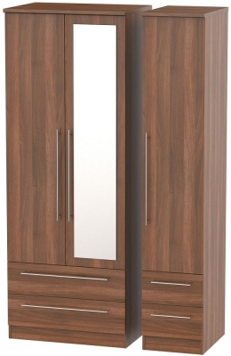 Sherwood Noche Walnut Triple Wardrobe - Tall with Mirror and Drawer