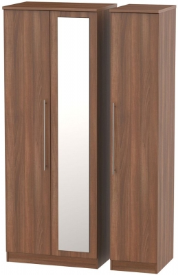 Sherwood Noche Walnut 3 Door Tall Mirror Wardrobe
