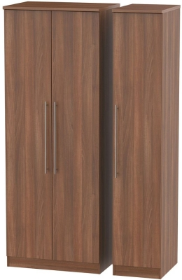 Sherwood Noche Walnut Triple Wardrobe - Tall Plain