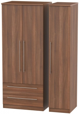 Sherwood Noche Walnut 3 Door 2 Left Drawer Wardrobe