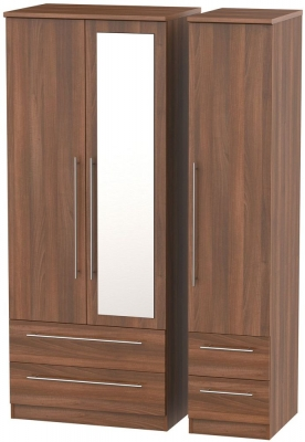 Sherwood Noche Walnut Triple Wardrobe with Mirror and Drawer
