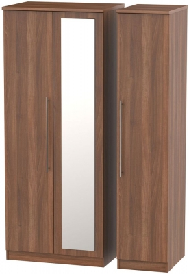 Sherwood Noche Walnut 3 Door Mirror Wardrobe