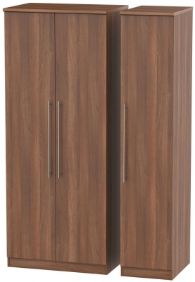 Sherwood Noche Walnut Triple Wardrobe with Plain