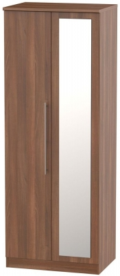 Sherwood Noche Walnut 2 Door Tall Mirror Wardrobe