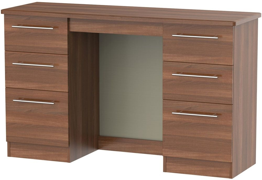 Sherwood Noche Walnut Dressing Table - Knee Hole Double Pedestal