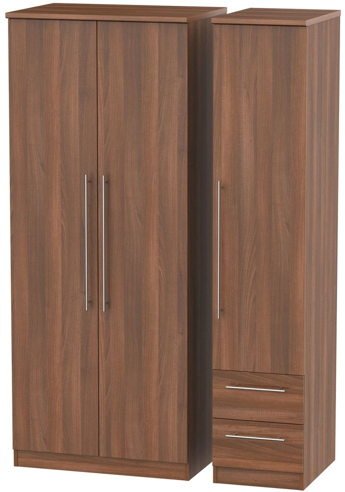 Sherwood Noche Walnut 3 Door 2 Drawer Plain Triple Wardrobe