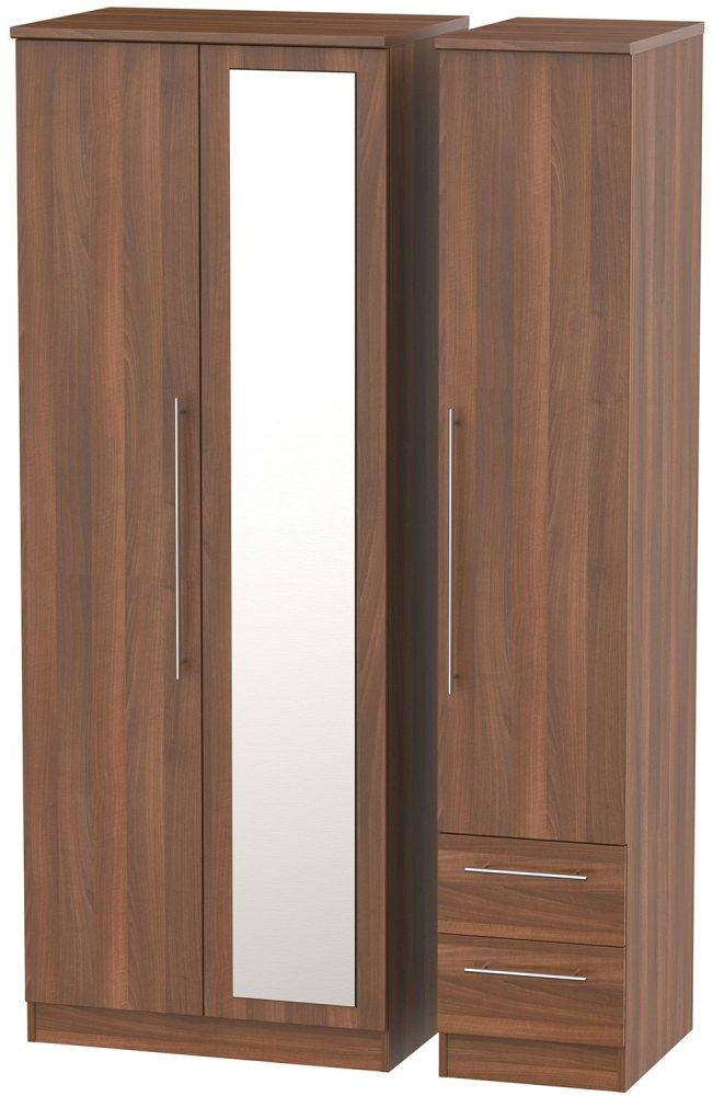Sherwood Noche Walnut Triple Wardrobe - Tall 2 Drawer and Mirror