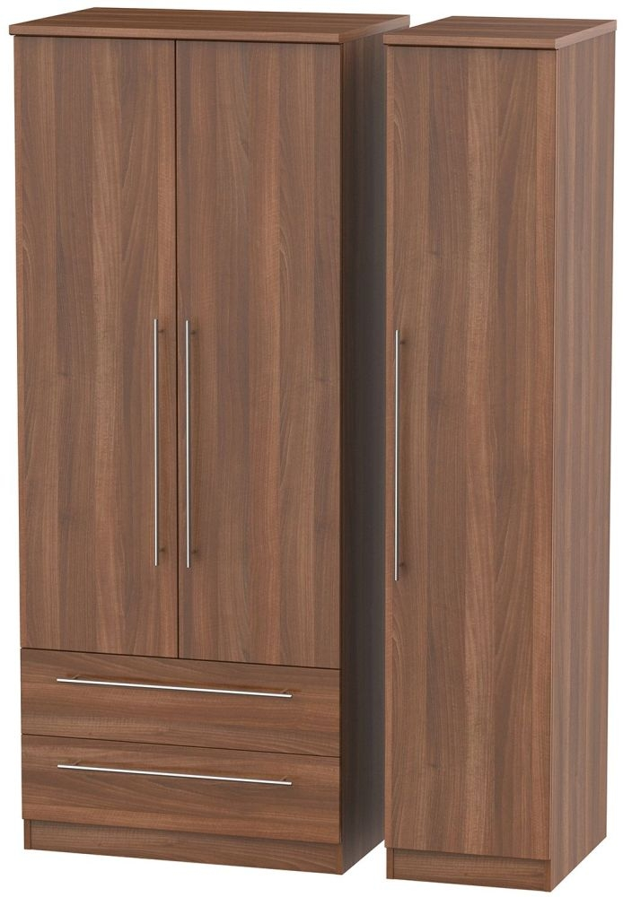 Sherwood Noche Walnut Triple Wardrobe with 2 Drawer