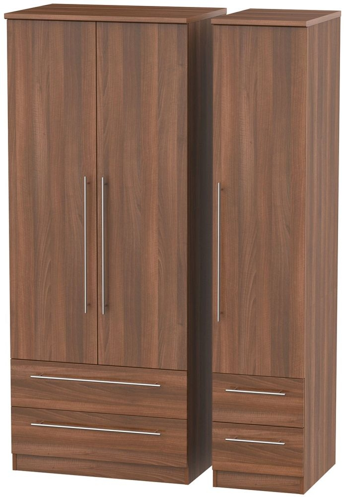 Sherwood Noche Walnut 3 Door 4 Drawer Triple Wardrobe