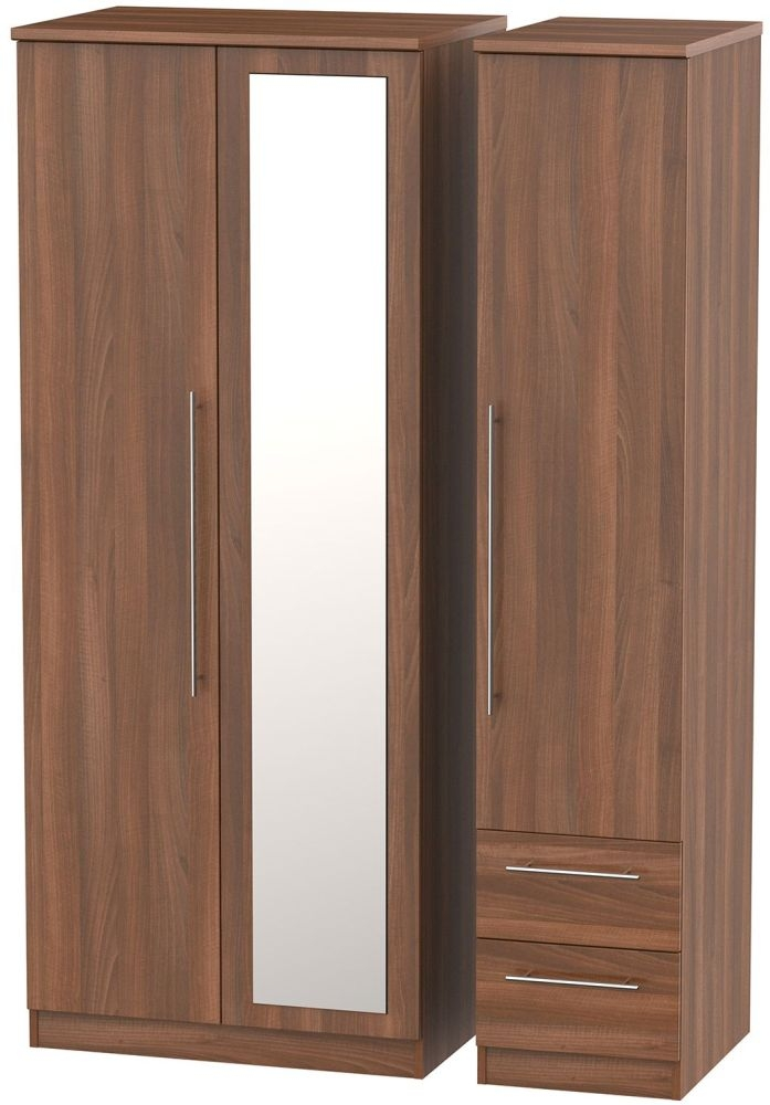 Sherwood Noche Walnut 3 Door 2 Drawer Mirror Triple Wardrobe