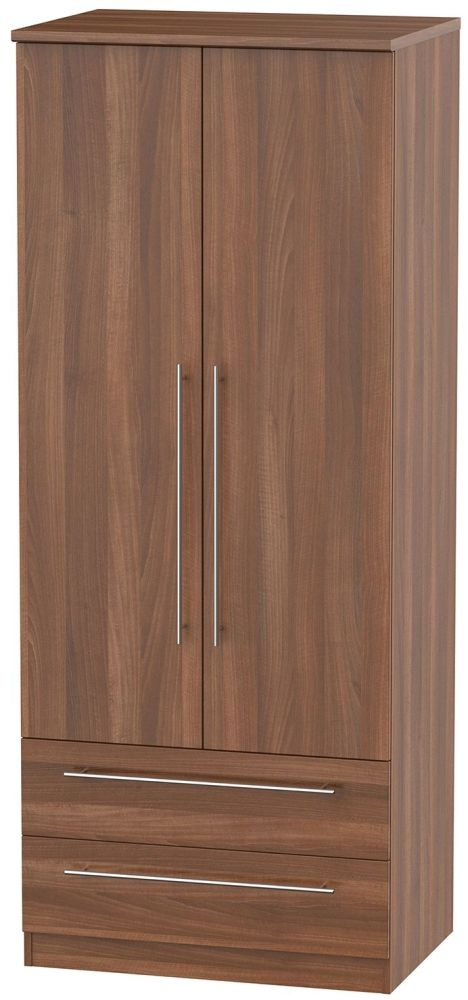 Sherwood Noche Walnut Wardrobe - 2ft 6in with 2 Drawer