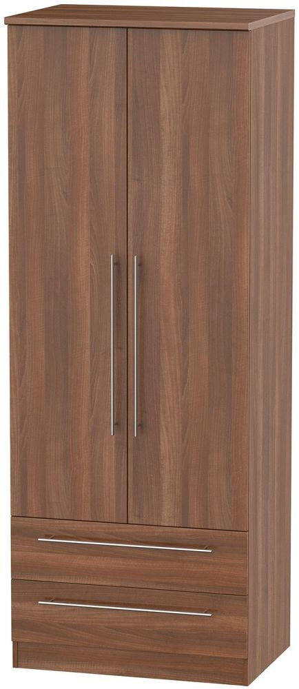 Sherwood Noche Walnut Wardrobe - Tall 2ft 6in with 2 Drawer
