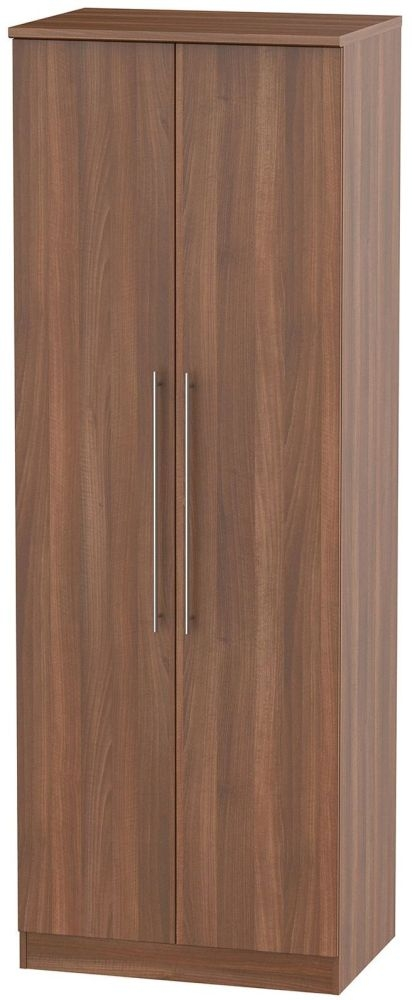 Sherwood Noche Walnut 2 Door Tall Double Hanging Wardrobe