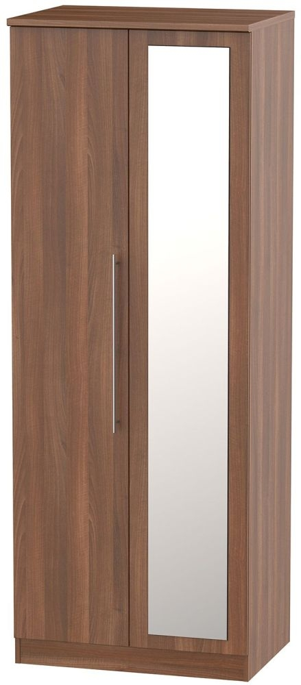 Sherwood Noche Walnut 2 Door Tall Drawer Double Wardrobe