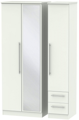 Sherwood Porcelain Matt 3 Door 2 Right Drawer Tall Combi Wardrobe