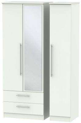 Sherwood Porcelain Matt 3 Door 2 Left Drawer Tall Combi Wardrobe