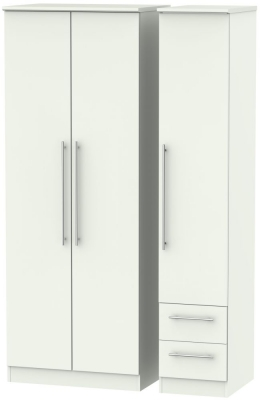 Sherwood Porcelain Matt 3 Door 2 Drawer Tall Plain Triple Wardrobe