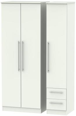 Sherwood Porcelain Matt 3 Door 2 Right Drawer Tall Wardrobe