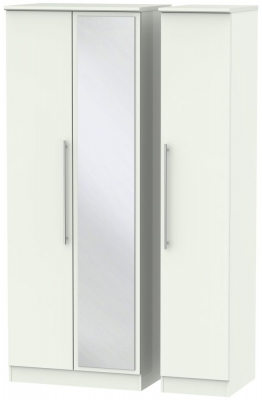 Sherwood Porcelain Matt 3 Door Tall Mirror Triple Wardrobe