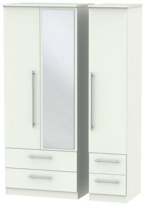 Sherwood Porcelain Matt 3 Door 4 Drawer Mirror Triple Wardrobe