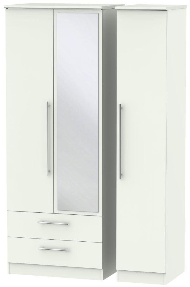 Sherwood Porcelain Matt 3 Door 2 Left Drawer Tall Mirror Triple Wardrobe