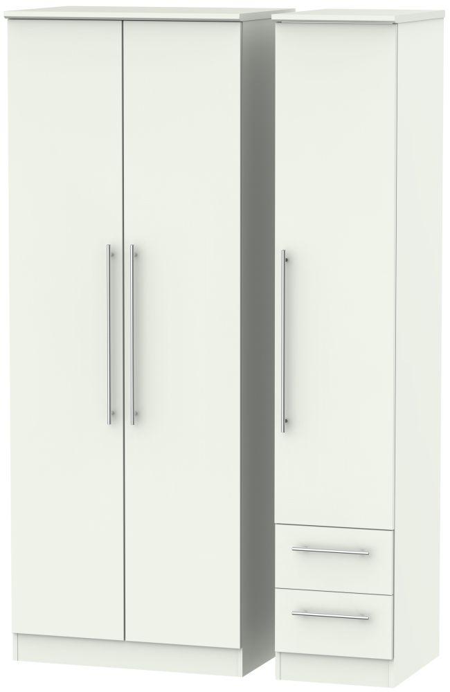 Sherwood Porcelain Matt 3 Door 2 Drawer Tall Plain Triple Wardrobe