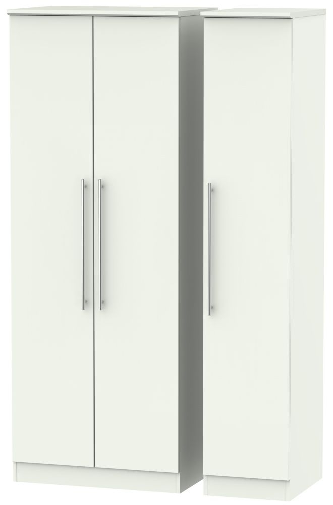 Sherwood Porcelain Matt 3 Door Tall Plain Triple Wardrobe