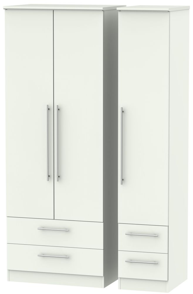 Sherwood Porcelain Matt 3 Door 4 Drawer Tall Triple Wardrobe