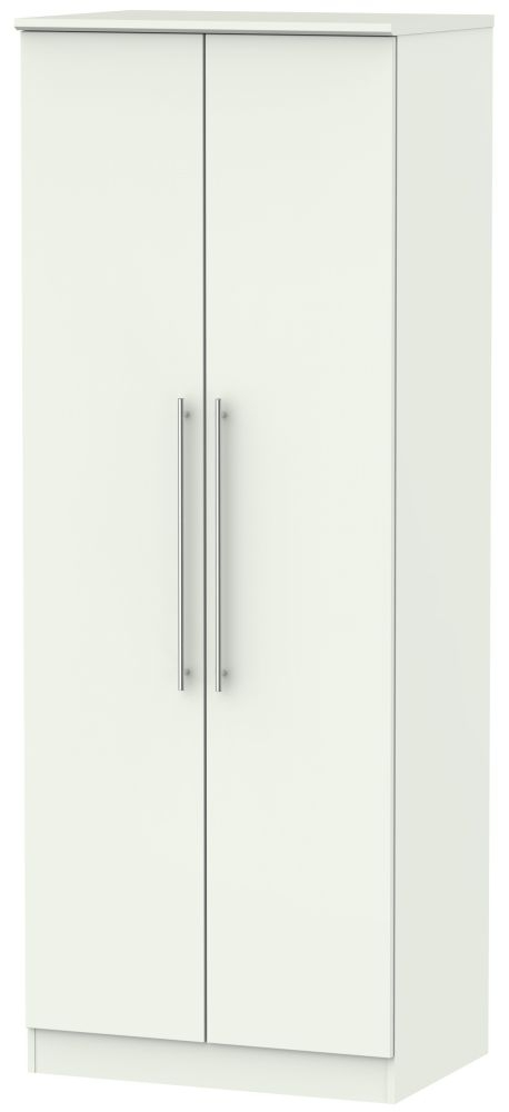 Sherwood Porcelain Matt 2 Door Tall Double Hanging Wardrobe
