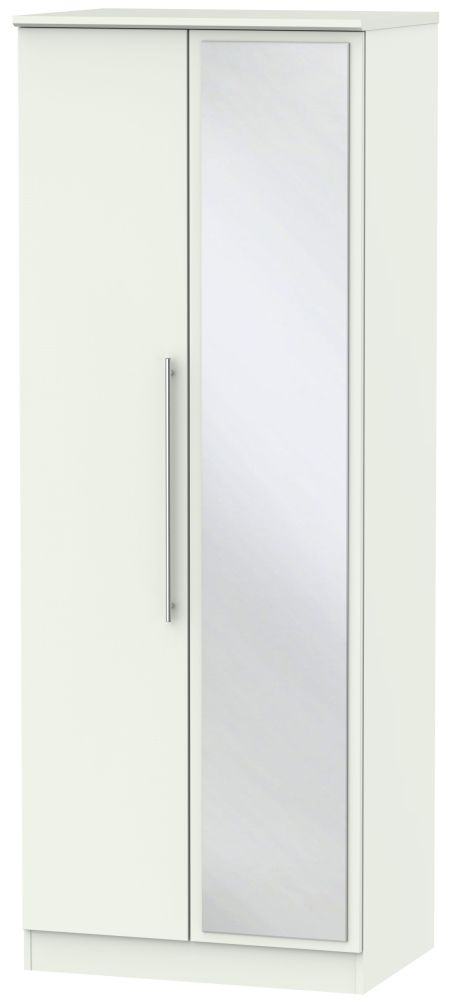 Sherwood Porcelain Matt 2 Door Tall Mirror Double Wardrobe