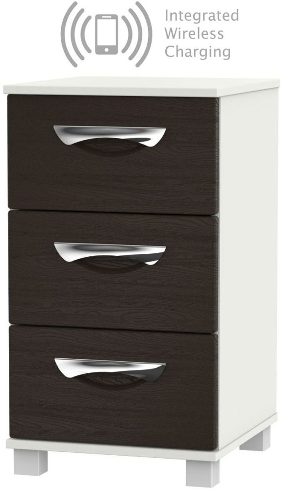 Somerset Graphite Klein 3 Drawer Bedside Cabinet with Integrated Wireless Charging