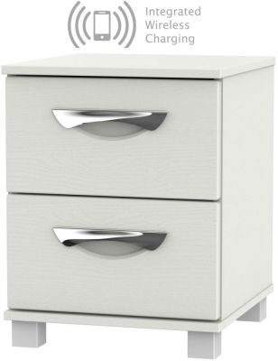Somerset Light Grey Klein 2 Drawer Bedside Cabinet with Integrated Wireless Charging