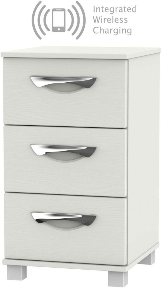 Somerset Light Grey Klein 3 Drawer Bedside Cabinet with Integrated Wireless Charging