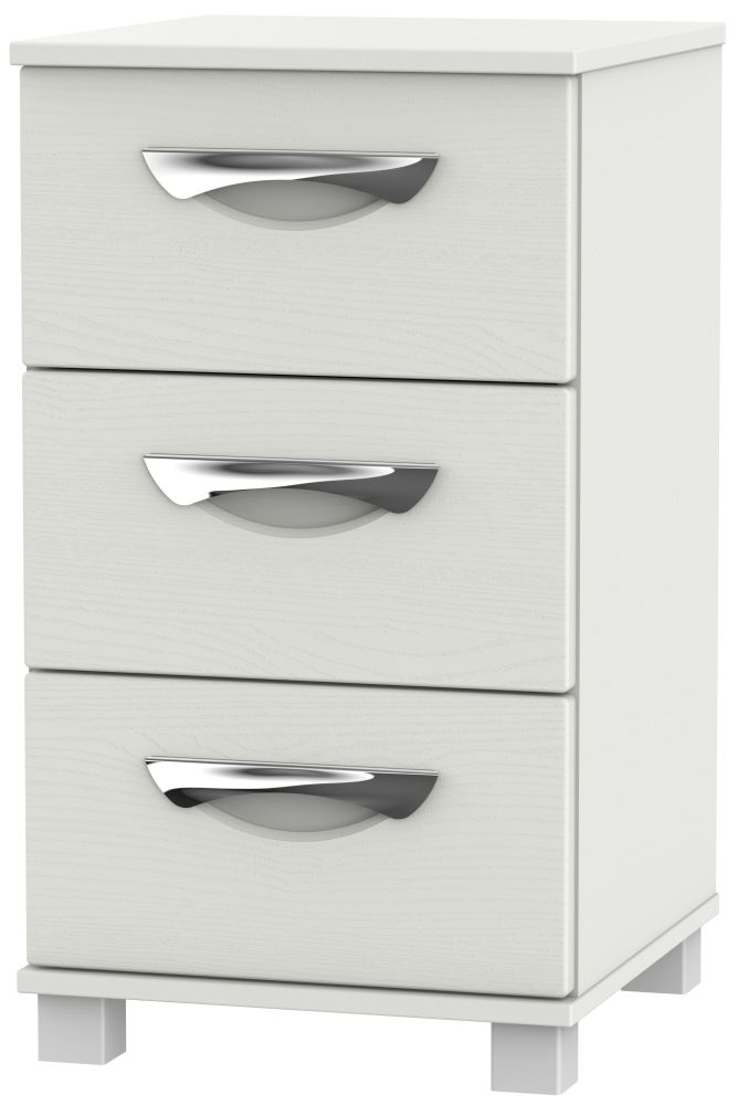 Somerset Light Grey Klein Bedside Cabinet - 3 Drawer Locker