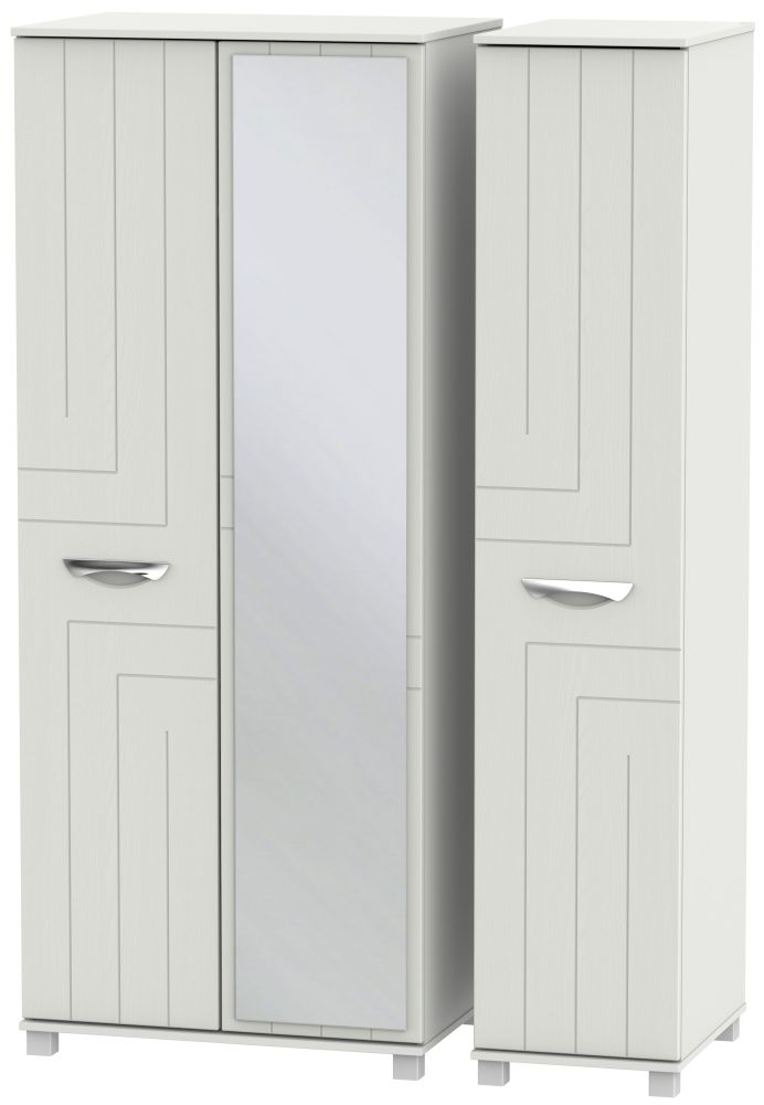Somerset Light Grey Klein 3 Door Mirror Triple Wardrobe
