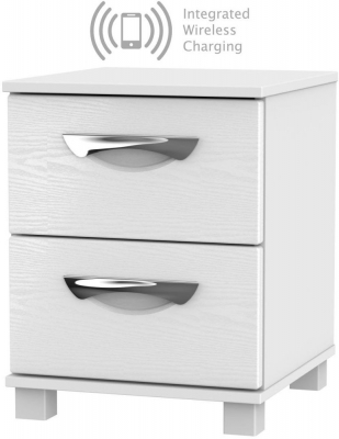Somerset White Klein 2 Drawer Bedside Cabinet with Integrated Wireless Charging