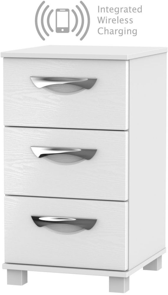Somerset White Klein 3 Drawer Bedside Cabinet with Integrated Wireless Charging