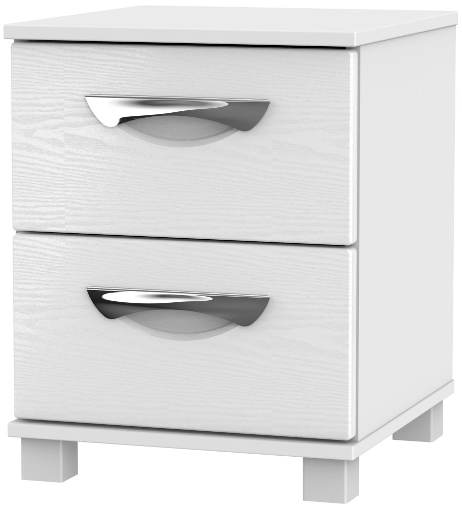 Somerset White Klein 2 Drawer Locker Bedside Cabinet
