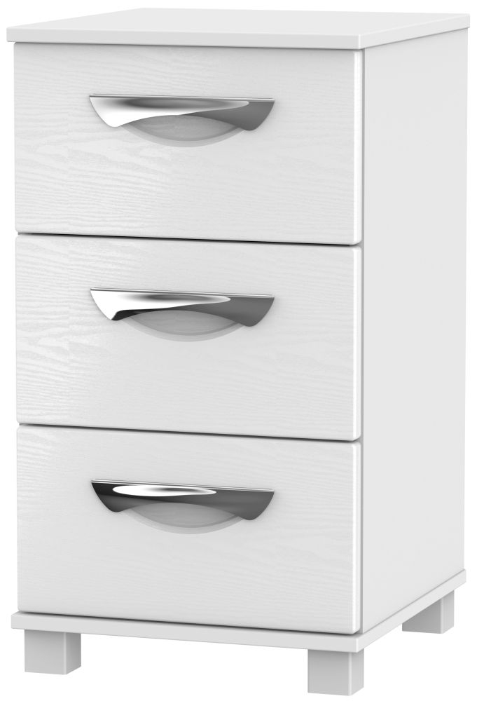 Somerset White Klein Bedside Cabinet - 3 Drawer Locker