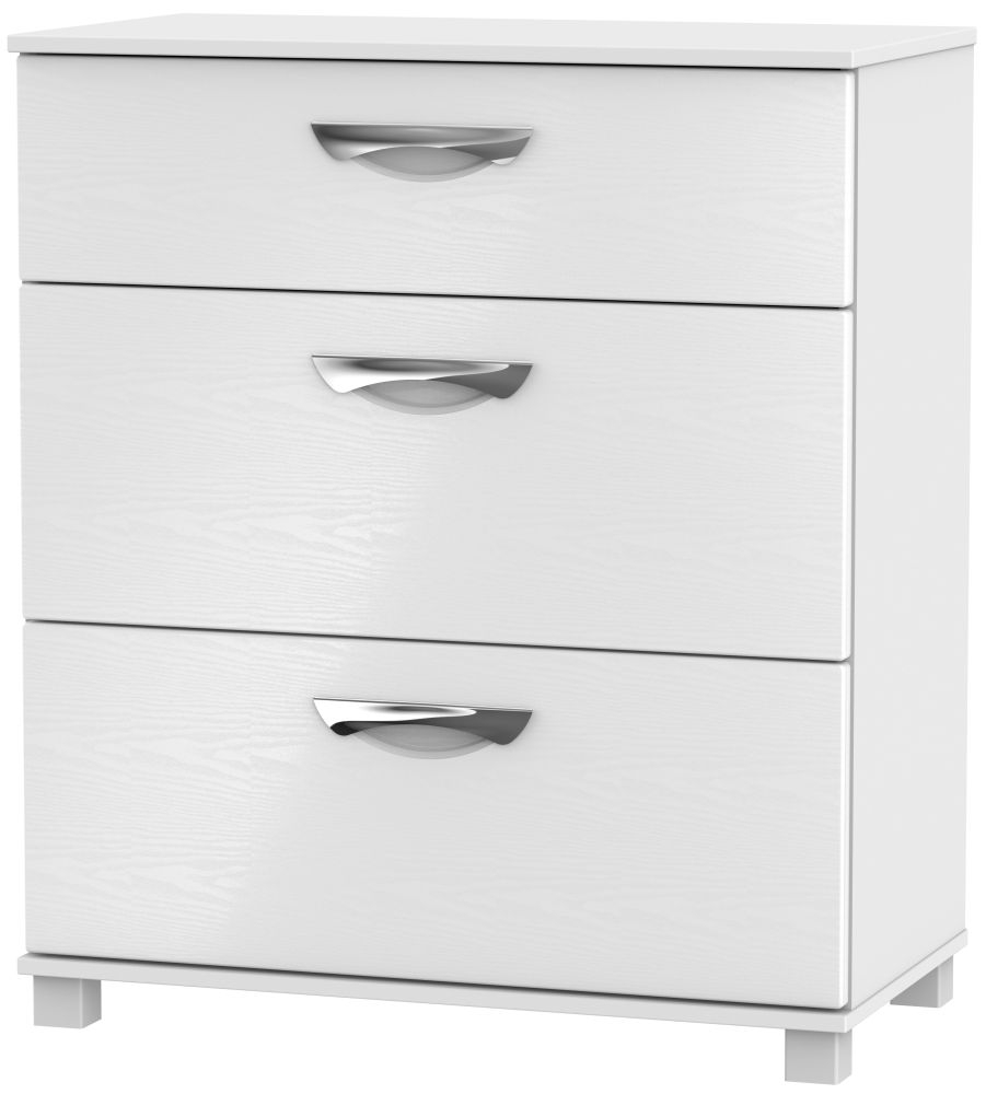 Somerset White Klein Chest of Drawer - 3 Drawer Deep