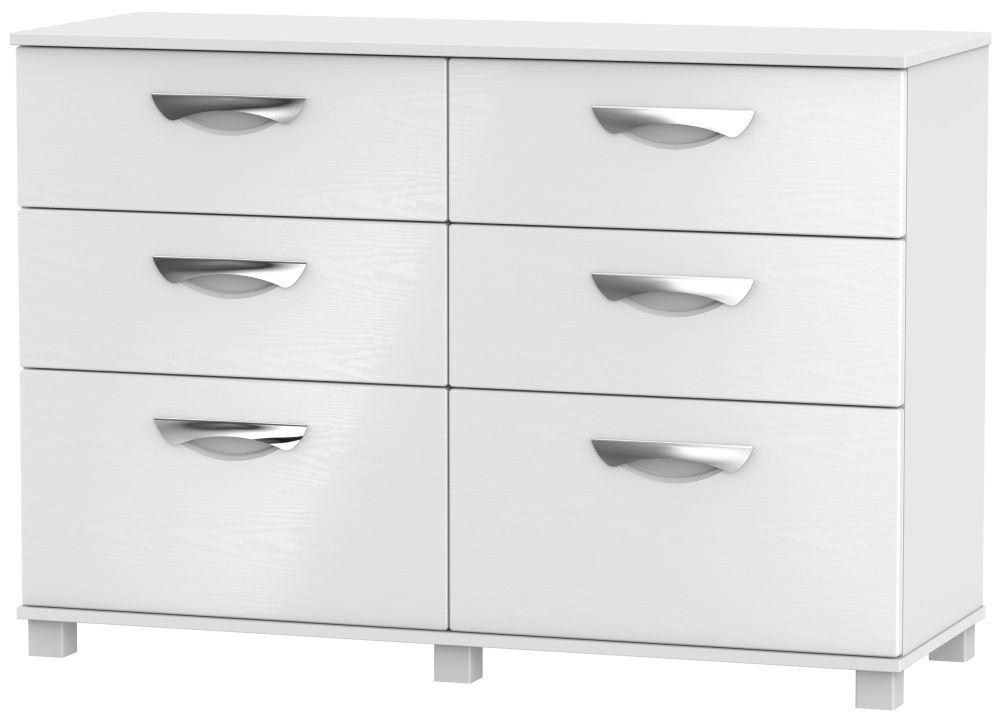 Somerset White Klein 6 Drawer Midi Chest